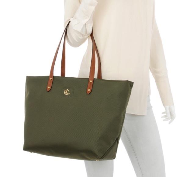 1bf31b5d27 Lauren Ralph Lauren Handbags - LAUREN Ralph Lauren olive green nylon  shopper tote